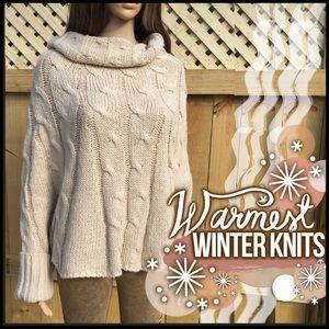 Cream Cable-knit Poncho