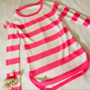 Lilly Pulitzer Pink + White Rugby Striped Sweater