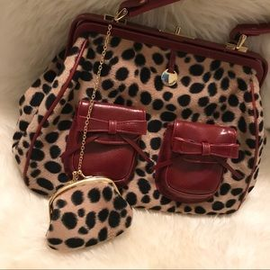 NECESSARY OBJECTS women's red cheetah print purse