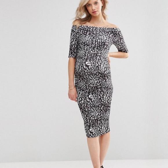 b1057e2de80 ASOS Maternity Bardot Leopard Dress