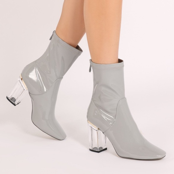 7d7af0ad45 NWT Misguided Patent ankle boots perspex heel grey.  M_5a0d72014127d03b0302a574