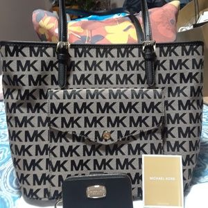 Mk jet set tote and black leather coin wallet set