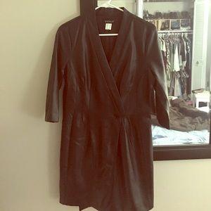 Faux leather women's wrap dress