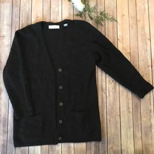 Charcoal Lambswool Button Down Cardigan w Pockets