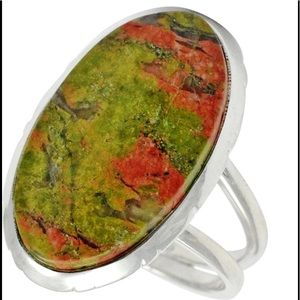 Jewelry - Striking Unakite Sterling Silver Ring 7.5