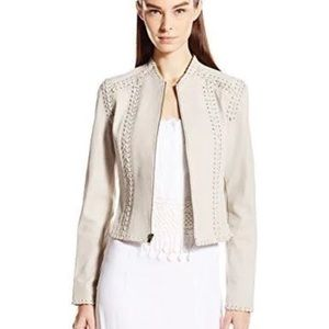 Elie Tahari white leather jacket