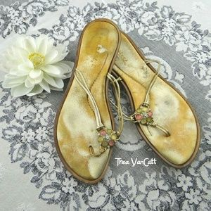 MATISSE - Golden Jewelled Flip Flops! <3