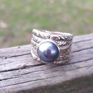 Jewelry - Sterling silver and tahitian pearl ring size 7.5