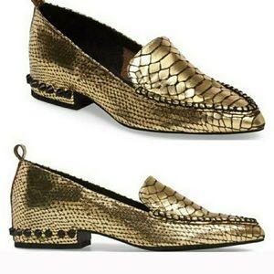 Jeffrey Campbell Barnett Gold Loafers