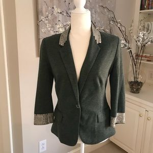 NEW Aryn K green blazer with cuff/collar detail S