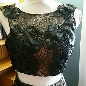 7bcfb6190e6 Terani Couture Dresses - Terani Couture 3215 Black Beaded Prom Overlay Crop