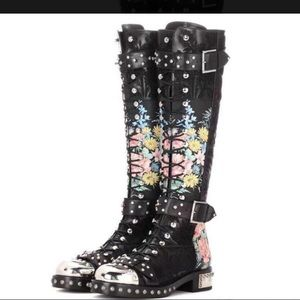 Women's cow skin floral motorcycle boots