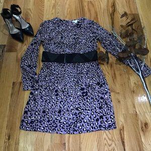 Multi print long sleeve dress