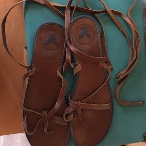 American Eagle lace up leather sandals