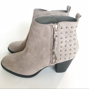 REPORT Suede Booties 7 Ankle Studded Taupe