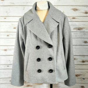 Merona Gray Plus Size Wool Pea Coat