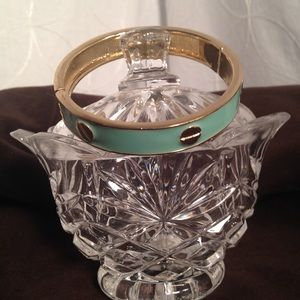 "Jewelry - Gold & Mint Green Hinged Bangle 7.5""Dia"