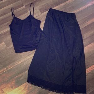 Vintage black slip skirt and top