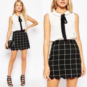 ASOS Plaid Check A-Line Schoolgirl Mini Skirt 4 S