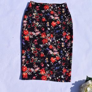 Express Floral Midi Pencil Skirt