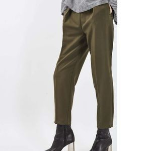 NWT Topshop High Rise Grommet Pleat Pant-Olive
