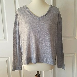 🚚 Old Navy Heather Grey V-neck Sheer Sweater XS