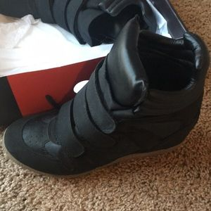 Shoes - Black and tan wedge sneakers