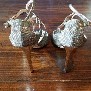 Jimmy Choo Shoes - Jimmy Choo   Light Bronze Lamé Glitter Sandals