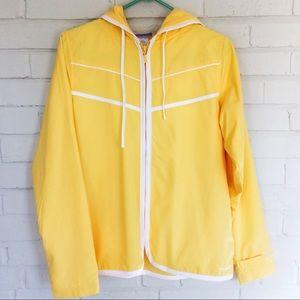 Reebok NWOT light bright yellow hooded windbreaker