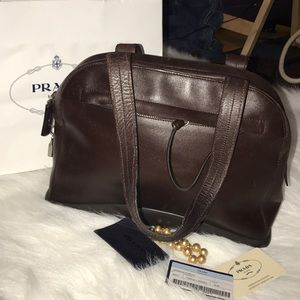 Prada Teak vitello gomma satchel w/lock & Card ID