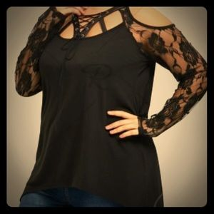 Tops - Lace sleeve, cold shoulder, hi-low, lace-up shirt