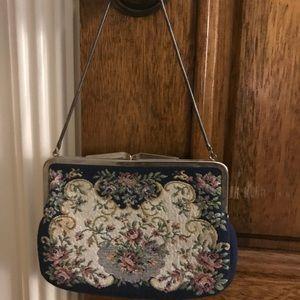 Handbags - Floral design evening bag needlepoint tapestry