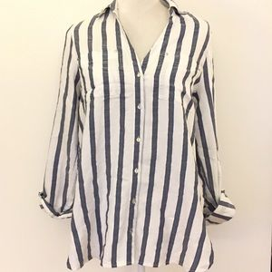 River island blue white loose fit button up shirt