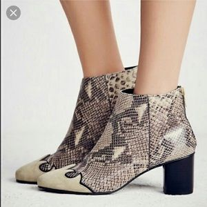 Free People Snakeskin and Suede Adele Ankle Boots