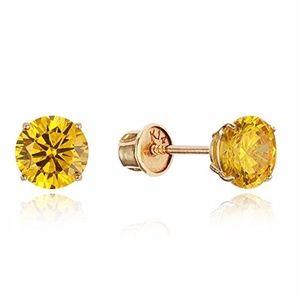 14k Yellow Gold Yellow 4mm Round Girls Earring