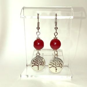 Jewelry - Earrings, Red Silver, Hand Crafted