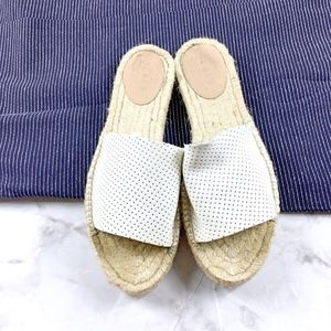 J Crew White Perforated Leather Espadrille Slides
