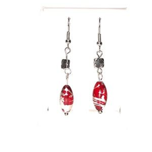 Earrings, Red Silver, Hand Crafted