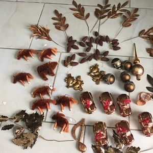 Other - 42 pieces Christmas decorations tree, Golden brown