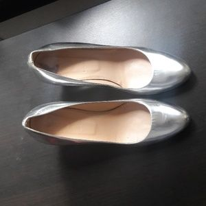 J. Crew Silver Wedges Leather size 9 Christmas
