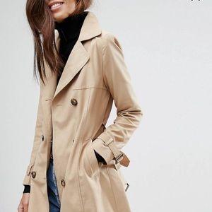 ASOS Tan Double Breasted Trench Coat - Rain Jacket