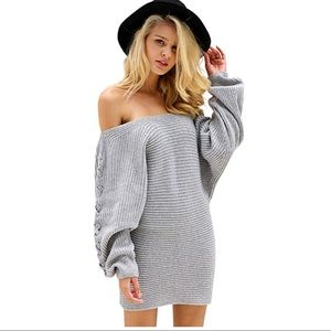 Lace Up Long Sleeves Knitted Dress