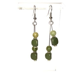 Earrings, Green Silver, Hand Crafted
