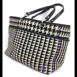 LAUREN RL black Ivory purple tweed purse satchel