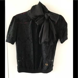 D&G Black Lace short sleeves top w/ neck scarf tie