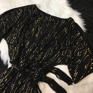 Jessica Simpson Black and Gold Glitter Dress