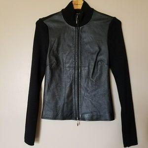 Arden B Black leather Sweater Jacket