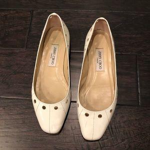 Jimmy choo white ballet flat size 8 shoe preowned