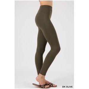 Pants - Seamless Fleece Olive Leggings S/M, L/XL