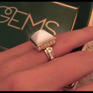 Henri Bendel White Pyramid Ring